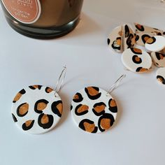 Available on Etsy ⚡️🌙 earrings Leopard print earrings, Sunshine Living Diy Clay Earrings, Polymer Clay Necklace, Earrings Handmade, Fimo Clay, Polymer Clay Crafts, Biscuit, Diy Collier, Ceramic Jewelry, Clay Creations