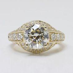 Antique Scroll Diamond Engagement Ring