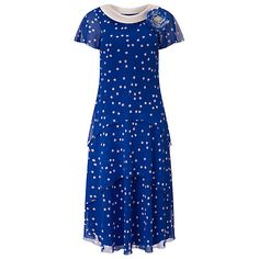 Buy Jacques Vert Spot Layer Dress, Mid Blue Online at johnlewis.com