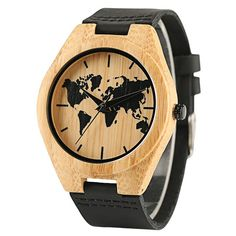 Wooden Watch Handmade Bamboo Quartz Fashion Leather Watch Bamboo Wristwatch-Brown Product Description: There has battery included in the wooden wrist watch. High quality in precise quartz movement of this wooden wrist watch. This wooden wri. World Map Design, Watch Engraving, Best Gifts For Men, Wooden Watch, Leather Buckle, Watch Sale, Fashion Watches, Watches For Men, Men's Watches