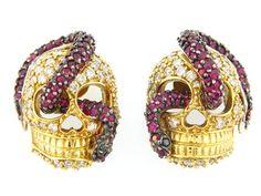 18K Ruby and Diamond Skull Earrings.
