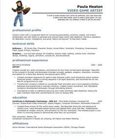 video game artist free resume samplesvideo - Entertainment Resume Template