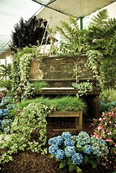 Old piano made into a planter