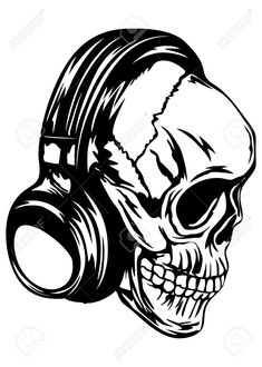 Vector Illustration Human Skull With Headphones Royalty Free Cliparts, Vectors, And Stock Illustration. Evil Skull Tattoo, Skull Tattoo Design, Skull Tattoos, Tattoo Designs, Punk Tattoo, Airbrush, Dark Drawings, Graffiti Drawing, Stencil Templates