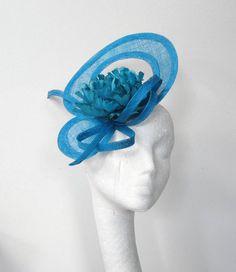 Dark Turquoise Fascinator Hat for Kentucky Derby by Hatsbycressida...