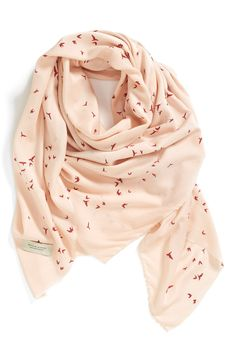 Love the cute bird print on this pretty pink scarf.
