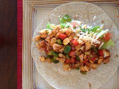 Brown rice chicken fajita