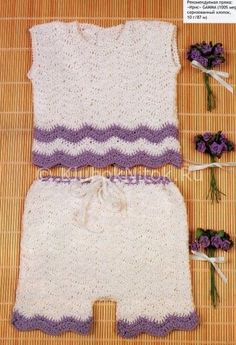 Топ и шортики | Вязание для девочек | Вязание спицами и крючком. Схемы вязания.
