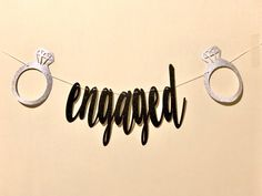 Excited to share the latest addition to my #etsy shop: ENGAGED banner with Diamond ring!