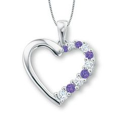 Amethyst and Lab-Created White Sapphire Journey Heart Pendant in 10K White Gold