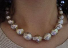 Baroque Metallic Freshwater Pearl Necklace/ Kasumi pearls, from Lake Kasumi (only) in Japan.