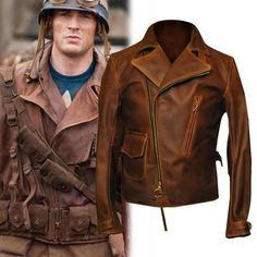 Captain America The First Avengers Distressed Brown Real Leather Jacket This sensational jacket is inspired by the jacket worn by Chris Evans in blockbuster movie Captain. Distressed Leather Jacket, Biker Leather, Real Leather, Leather Men, Brown Leather, Leather Jackets, Cowhide Leather, Captain America Leather Jacket, Film Jackets