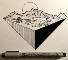 #drawing #dailydrawings #illustration #ink #inkdrawing #landscape #geometry…