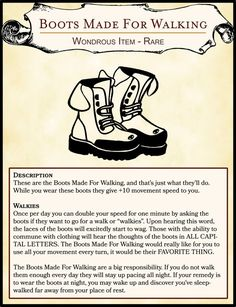 7c17b65cfb1  OC  Silly Item - Boots Made For Walking   DnD Dnd Stats