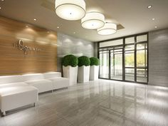 Condo lobby renderings showcasing clean, sophisticated style