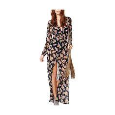 Black Long Sleeve Maxi Chiffon Dress DR0150005 ($25) ❤ liked on Polyvore featuring dresses, black, long sleeve maxi dress, deep v neck maxi dress, long sleeve chiffon dress, long sleeve deep v neck dress and floral dress