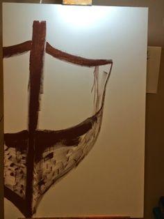 Andrea McGee - Artist: Boat on a Deserted Island, Acrylic on Canvas