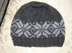 This is a pattern for a basic knit hat with spiral decreases. It is knit in the round from the cuff up.