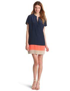 Bcbgmaxazria Women's Blaire Color Blocked Shirt Dress, Dark Navy, Small