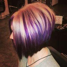 New Hair Color Purple Highlights Blonde Awesome Ideas Hair Color Purple, Hair Color And Cut, Haircut And Color, New Hair Colors, Cool Hair Color, Dark Purple, Hair Highlights, Purple Highlights, Short Hair Cuts