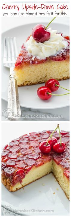 This Cherry Upside-Down Cake is sooooo soft! And you can use just about any kind of fruit!   NatashasKitchen.com