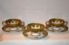 3 Gorgeous Sets of Limoges Porcelain Footed Bouillon / Soup Cups and Saucers q  ~ Green & Gold Designs ~ Haviland & Co Limoges France 1894-1931 for Koch & Braunstein Cincinnati OH