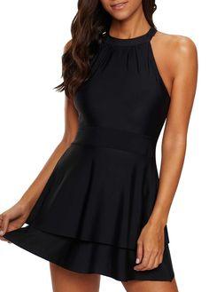 ab4228b320417 Layered Lace Up Back Swimdress and Shorts   liligal.com - USD $28.08  #liligal #swimwear #swimsuit