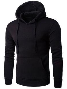 Buy Kangaroo Pocket Drawstring Flocking Pullover Hoodie - Black - 3349920814 online, fidn many other Men's Hoodies & Sweatshirts Mens Zip Up Hoodies, Plain Hoodies, Hooded Sweatshirts, Men's Hoodies, Pullover Hoodie, Nike Hoodie, Swagg, Black Hoodie, Men Casual