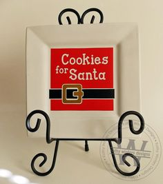 Vinyl Cookies For Santa Square Plate by KWintersDesigns on Etsy Silhouette Portrait, Silhouette Cameo, Heat Press Vinyl, Square Plates, Wooden Blocks, Vinyl Lettering, Vinyl Art, Layout Design, Wood Signs