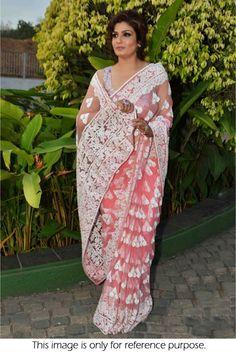 Bollywood Actress Raveena Tandon Net saree in Peach Colour