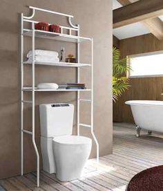 Estanteria de baño metálica lacada con 3 estantes fijos. Color blanco.