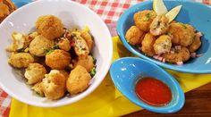 Croquetas de salsa blanca con jamón, queso, choclo y panceta