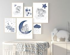 Nursery decor boy elephant navy blue nursery wall art cloud stars navy nursery boy nursery wall art we love you to the moon and back Elephant Nursery Art, Nursery Decor Boy, Star Nursery, Nursery Themes, Nursery Room, Nursery Wall Art, Nursery Ideas, Baby Elephant, Star Themed Nursery