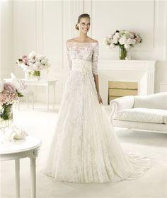 Sexy A Line Princess Off The Shoulder Three Quarter Sleeve Lace Wedding Dress