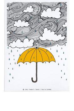 The Yellow Umbrella - Illustration by: Taren S. Black. $15.00, via Etsy.