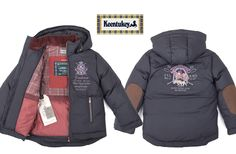 Keentukey downjacket. #keentukey #tartan #plaid #embroideries #elbowpatches #navy #blue #royal