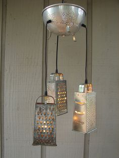 Inspiration: Upcycled Vintage Colander and Cheese Grater Pendant Lamp by BenclifDesigns Upcycled Vintage, Repurposed, Vintage Box, Diy Luz, Diy Lampe, Cheese Grater, Color Plata, Ideas Geniales, Unique Lighting