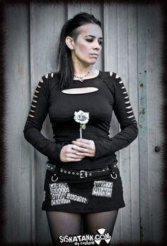 Goth Zombie SHIRT Post Apocalyptic Black Longsleeves Shredded