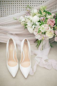 From the beautiful Bride's gorgeous lace wedding dress and flawless hair and makeup to the pretty pastel color palette and stunning ceremony and reception spaces, this wedding is almost too good… Unique Wedding Shoes, Wedding Details, Lace Wedding, Wedding Heels, Garden Wedding, Wedding Flowers, Bridal Skirts, Bridal Bouquets, Types Of Gowns