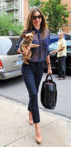 ネイビースタイル Miranda Kerr ミランダカー シースルーブラウス パンツ