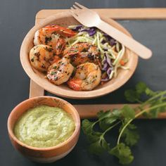 Grilled Shrimp with Cilantro Dipping Sauce
