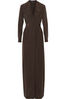 Gucci Belted silk crepe de chine safari-style gown | NET-A-PORTER
