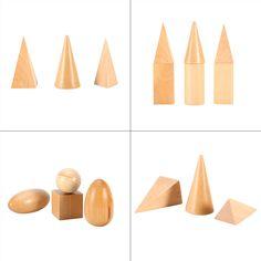 10pcs/set Hot Sale Wooden Montessori Geometric Shapes Solids Geometry Blocks Set Learning & Education Cognitive Math Toys