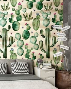 SALE Kids Wallpaper . Cactus . Textured Vinyl Wallpaper .