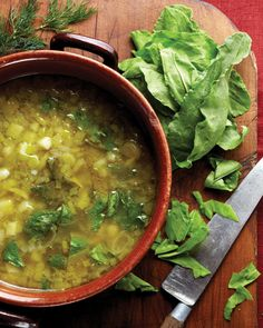 European soup of sorrel and potato that is refreshing served cold ...