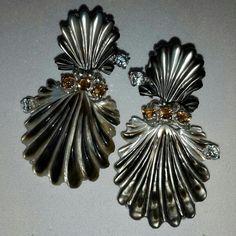 Orecchini conchiglie  madreperla topazi e citrini in argento 925