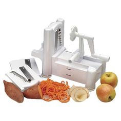 Spiral Vegetable Slicer with three blades. cuts vegetables and fruits into curly, ribbon-like slices. I think I need one of these!!!