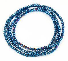 De fedeste Lang elastisk halskæde med smukke blå krystal perler bitavant Modetøj til Damer i behageligt materiale
