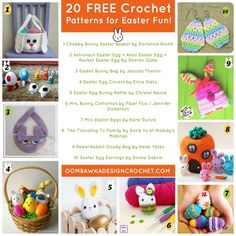 This week on Free Crochet Pattern Friday we have 20 Free Crochet Patterns for Easter Fun! Baskets, bunnies, eggs and play-sets for both boys and girls! Holiday Crochet, Easter Crochet, Crochet Round, Crochet For Kids, Free Crochet, Irish Crochet, Crochet Angel Pattern, Crochet Blanket Patterns, Easter Toys