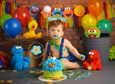Love the way they use big bird's next and oscars trashcan to get some variety of height in the background. Monster Birthday Parties, Elmo Birthday, Elmo Party, Birthday Ideas, Mickey Party, Dinosaur Party, Dinosaur Birthday, Sesame Street Birthday Cakes, Sesame Street Cake